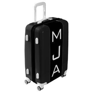 MEDIUM Black + White Personalized Monogram Luggage