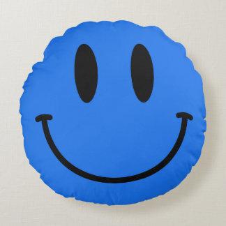 Medium Blue Smiley Face Round Throw Pillow