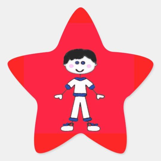 Medium Boy Stick Family Star Sticker