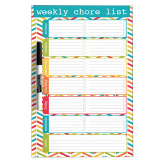 Medium Bright Weekly Chore List Dry Erase Board