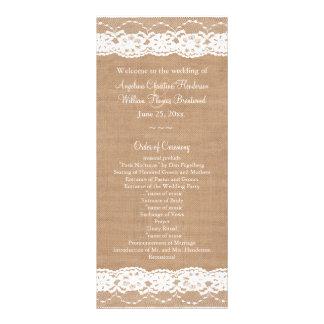 Medium Burlap & Vintage Lace Wedding Program Custom Rack Cards