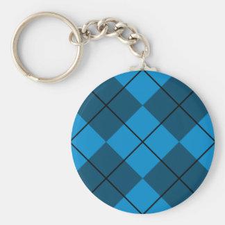 Medium & Dark Blue Argyle Basic Round Button Key Ring