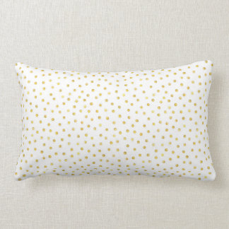 Medium Gold Watercolor Polka Dot Pattern Lumbar Pillow