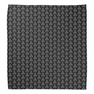 Medium Gray Celtic Triple Spiral Triskele on Black Bandana