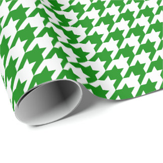 Medium Green and White Houndstooth Wrapping Paper
