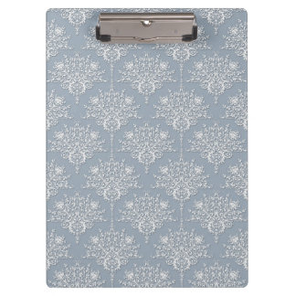 Medium Grey Blue and White Damask Pattern Clipboard