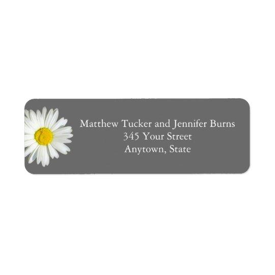Medium Grey White Daisy Envelope Address Labels