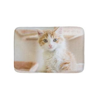 Medium Haired Orange And White Kitten Bath Mat