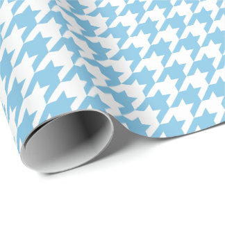 Medium Light Blue and White Houndstooth Wrapping Paper