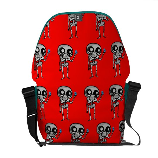 Medium Messenger Bag Outside Print with skeleton