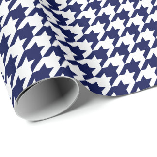 Medium Navy Blue and White Houndstooth Wrapping Paper