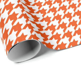 Medium Orange and White Houndstooth Wrapping Paper