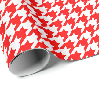 Medium Red and White Houndstooth Wrapping Paper