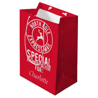 Medium Red & White North Pole Express Mail Name Medium Gift Bag