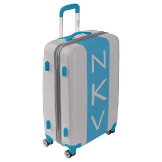 MEDIUM Silver + Blue Monogrammed Luggage