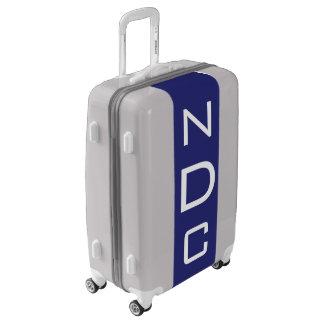 MEDIUM Silver + Navy Blue Monogrammed Luggage