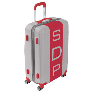 MEDIUM Silver + Red Monogrammed Luggage