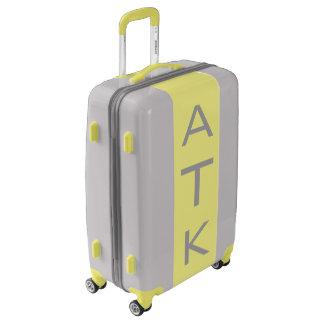 MEDIUM Silver + Yellow Monogrammed Luggage
