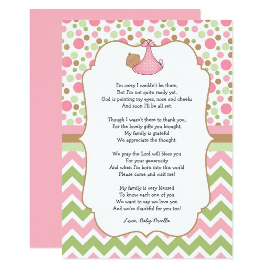 Medium Skin Baby Shower Thank You notes with