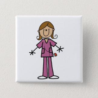 Medium Skin Stick Figure Female Nurse 15 Cm Square Badge