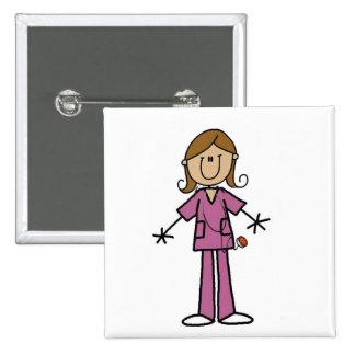Medium Skin Stick Figure Female Nurse Button