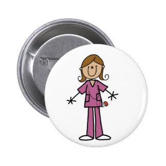 Medium Skin Stick Figure Female Nurse 6 Cm Round Badge