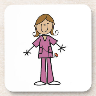 Medium Skin Stick Figure Female Nurse Drink Coaster