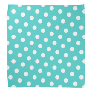 Medium Turquoise and White Polka Dots Bandana
