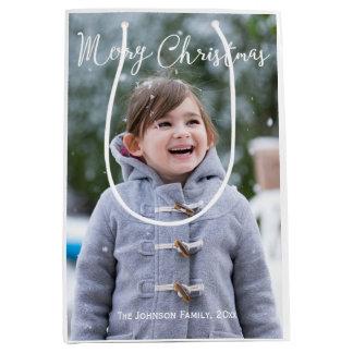Meduim Girl And Snow Photo Christmas Gift Bags