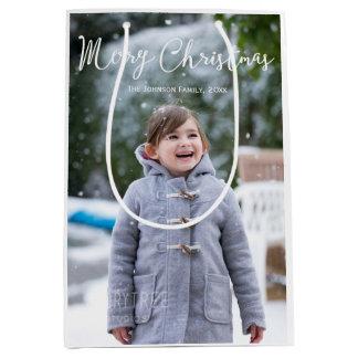 Meduim Snowing Photo Christmas Greetings Gift Bags