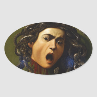 Medusa 1595 - 1598 by Caravaggio Merisi Oval Sticker