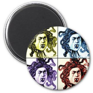 MEDUSA as VAMPIRE vintage collage print 6 Cm Round Magnet
