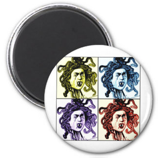 MEDUSA as VAMPIRE vintage collage print Magnets