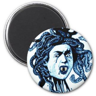 MEDUSA as VAMPIRE VINTAGE PRINT in blue 6 Cm Round Magnet