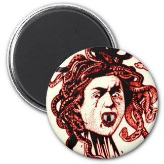 MEDUSA AS VAMPIRE VINTAGE PRINT IN RED 6 CM ROUND MAGNET