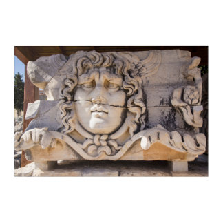 Medusa Carving At Greek Ruins Acrylic Print