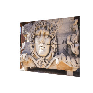 Medusa Carving At Greek Ruins Canvas Print