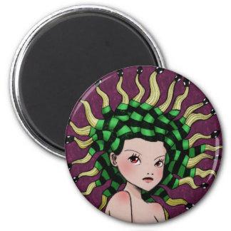 Medusa (coloured) 6 cm round magnet