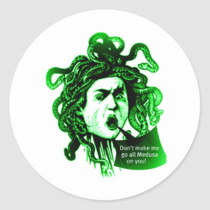 MEDUSA Don't Make me... Vintage Mythological print Classic Round Sticker