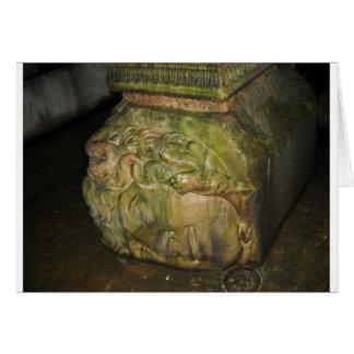 Medusa Head Sculptures Basilica Cistern Istanbul Greeting Card