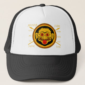 """Medusa head with """"come and get them"""" text trucker hat"""