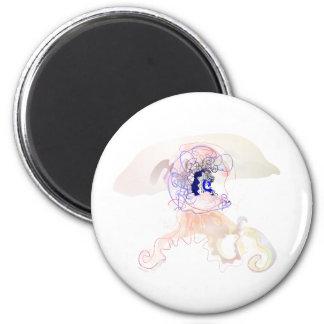 medusa helmet jellyfish 6 cm round magnet