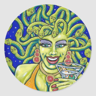 medusa martini round sticker