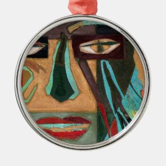 Medusa. portrait of a shaman Silver-Colored round decoration