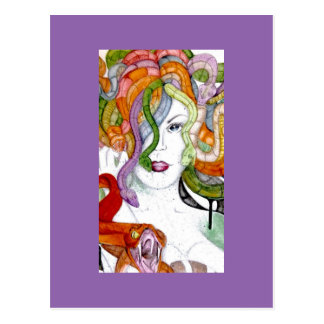 Medusa snake hair Greek mythology painting Postcard