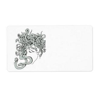 medusa snake lady vector illustration shipping label
