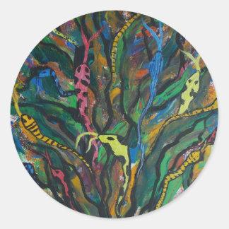 Medusa tree classic round sticker