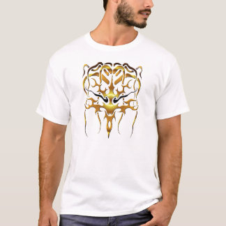 Medusa Tribal Tattoo - gold on black T-Shirt