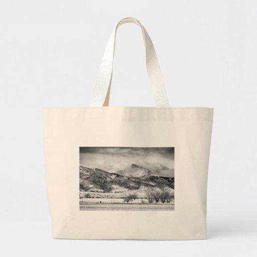 Meeker and Longs Peak in Winter Clouds BW Tote Bags