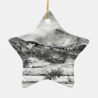 Meeker and Longs Peak in Winter Clouds BW Christmas Ornament